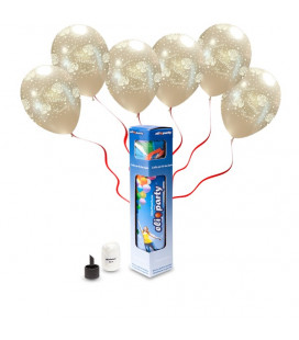 "Kit Elio SMALL + 8 palloncini metal perla ""Just Married"" - Ø 27 cm"