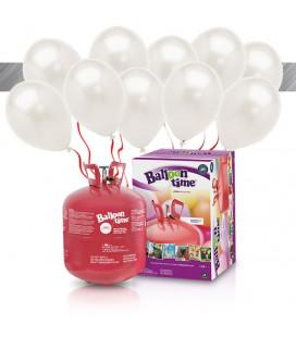 Kit Elio LARGE + 30 palloncini metallizzati bianchi - Ø 27 cm