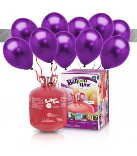 Kit Elio LARGE + 30 palloncini metallizzati viola - Ø 27 cm