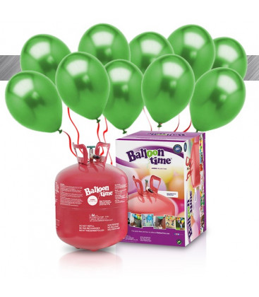 Kit Elio LARGE + 30 palloncini metallizzati verde - Ø 27 cm
