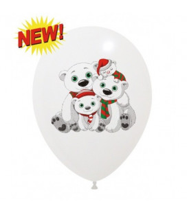 Palloncini Natale Orsi polari - Ø 30 cm - 100 pezzi