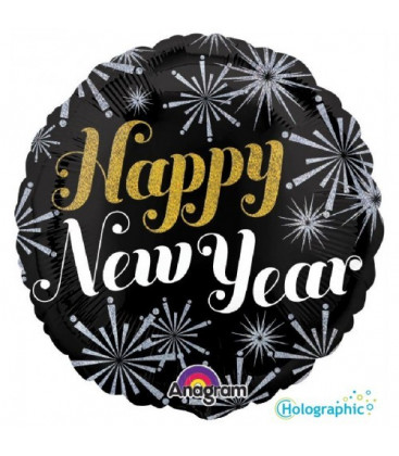 Happy New Year nero - Ø 46 cm