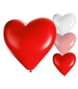Palloncini cuore assortiti biodegradabili - Ø 25cm - 50 Pezzi