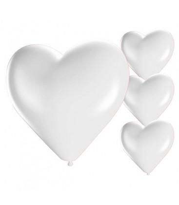Palloncini cuore bianchi - Ø 25cm - 50 Pezzi