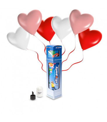 Kit Elio SMALL + 8 palloncini assortiti cuore - Ø 25 cm