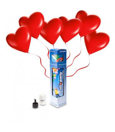 Kit Elio SMALL + 8 palloncini rossi cuore - Ø 25 cm