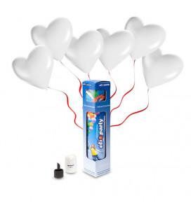 Kit Elio SMALL + 8 palloncini bianchi cuore - Ø 25 cm