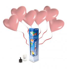 Kit Elio SMALL + 8 palloncini rosa cuore - Ø 25 cm