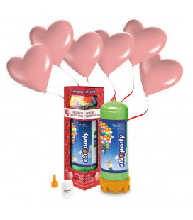 Kit Elio MEDIUM + 16 palloncini rosa cuore - Ø 25 cm
