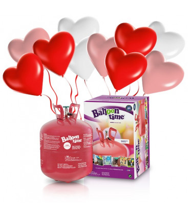 Kit Elio LARGE + 30 palloncini assortiti cuore - Ø 25 cm