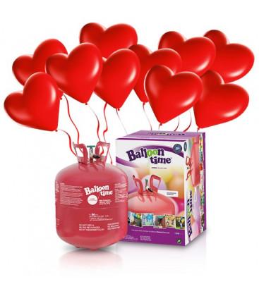 Kit Elio LARGE + 30 palloncini rossi cuore - Ø 25 cm