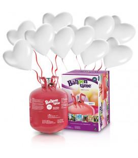 Kit Elio LARGE + 30 palloncini bianchi cuore - Ø 25 cm