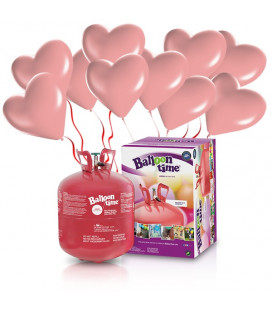 Kit Elio LARGE + 30 palloncini rosa cuore - Ø 25 cm