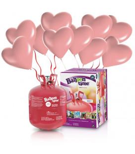 Kit Elio LARGE + 30 palloncini rosa cuore - Ø 25 cm