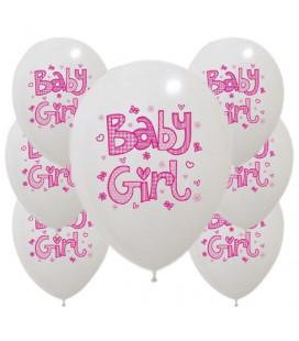 Palloncini Baby Girl Rosa - Ø 30 cm - confezione da 100
