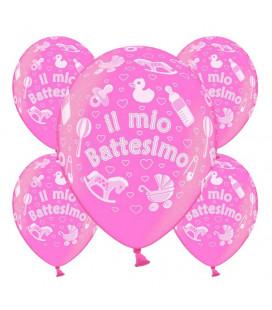 Palloncini battesimo Rosa Metallizzato - Ø 30 cm - confezione da 25