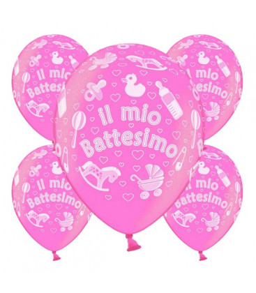 Palloncini battesimo Rosa - Ø 30 cm - confezione da 25