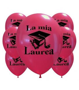 """Palloncini rossi stampa """"La mia laurea"""" - Ø 30 cm - 100 pezzi"""