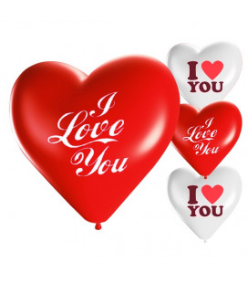 Palloncini cuore assortiti I LOVE YOU - Ø 25cm - 50 Pezzi