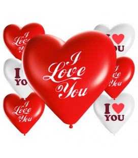 Palloncini cuore assortiti I LOVE YOU - Ø 25cm - 100 Pezzi