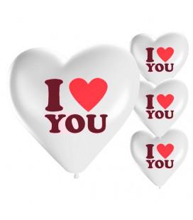 Palloncini cuore bianchi I LOVE YOU - Ø 25cm - 50 Pezzi