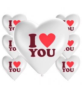 Palloncini cuore bianchi I LOVE YOU - Ø 25cm - 100 Pezzi