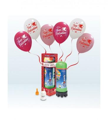 Kit Elio MEDIUM + 12 palloncini assortiti San Valentino - Ø 30 cm