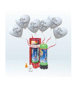 "Kit Elio MEDIUM + 16 palloncini cuori bianchi ""Viva gli Sposi"" - Ø 25 cm"