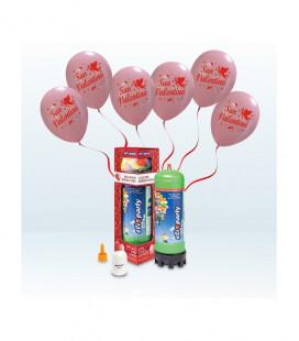 Kit Elio MEDIUM + 12 palloncini rosa San Valentino - Ø 30 cm
