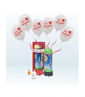 Kit Elio MEDIUM + 12 palloncini bianchi San Valentino - Ø 30 cm