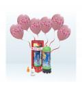 Kit Elio MEDIUM + 12 palloncini rosa stampa fascia cuori - Ø 30 cm