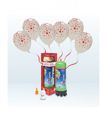 Kit Elio MEDIUM + 12 palloncini trasparenti stampa Cuori - Ø 30 cm
